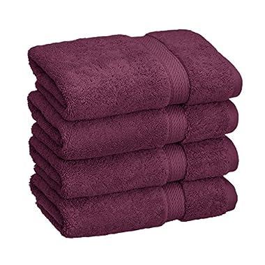 Blue Nile Mills 4-Piece Hand Towel Set, Premium Long-Staple Cotton, 900 GSM, Plum