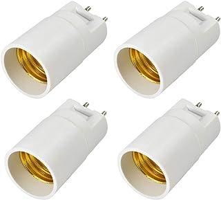 MENGS 4 adaptadores de casquillo G12 a casquillo E27, adaptador de lámpara con color blanco para LED halógeno de bajo consumo