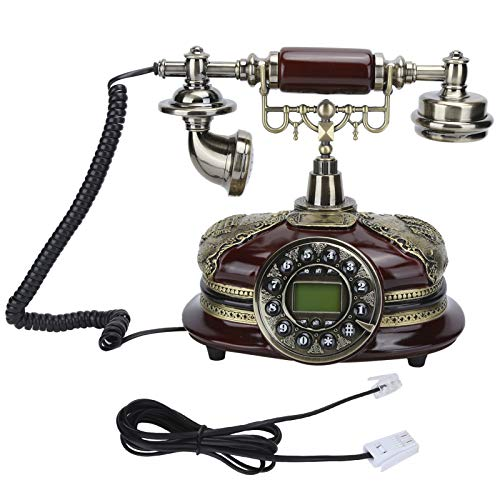 Teléfono Fijo Retro, Teléfono Fijo de Escritorio Estilo Europeo Vintage Teléfono con Cable Retro Teléfono Antiguo DTMF FSK Sistema Dual para el Hogar/Hotel/Oficina