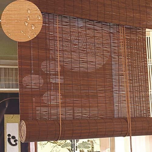 YXX Estores enrollables Marrón Persianas Enrollables De Bambú Impermeables Grandes, Cortinas con Aislamiento Térmico con Filtro De Luz Al 60% para Puertas De Patio Al Aire Libre, Pérgolas Y Glorietas