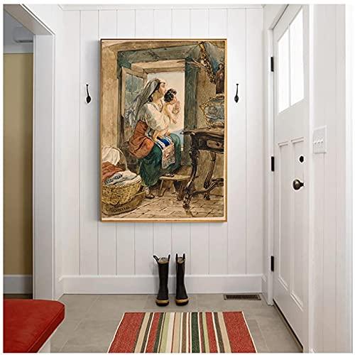 Lienzo Karl Briullov 《Mujer italiana con niño en la ventana》 Arte Pintura al óleo Obra de arte Imagen Decoración de pared moderna Decoración del hogar -50x70cmx1pcs -Sin marco