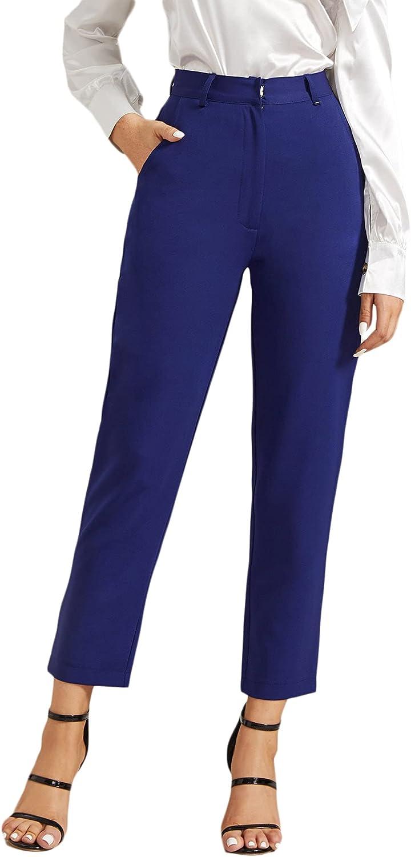 MakeMeChic Women's High Waist Zipper Fly Capris Straight Leg Pants with Pockets