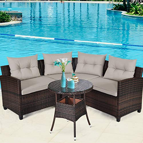 Tangkula 4-Piece Patio Furniture Set, C-Shape Outdoor Wicker Sectional Sofa Set, w/Cushions & Glass Coffee Table, Modern Deck Rattan Furniture for Garden Poolside Balcony (Beige)