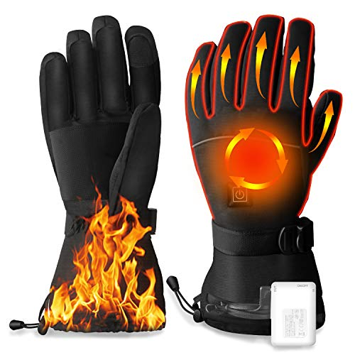 Dr. Prepare Heated Gloves for Men Women, Rechargeable Waterproof Gloves, Electric USB Motorcycle Gloves, 3 Heating Levels, 4100mAh Batteries, Heating Warm Ski Gloves for Work, Hunting,Winter