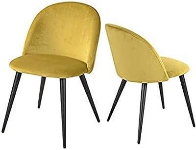 Lot de 2 Chaise de Salle à Manger Velours Jaune Chaise de Bureau Ergonomique Pieds Métal avec Finition Noire