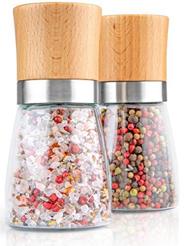 Hannah's Homebrand® Salz und Pfeffermühle Holz mit Keramik-Mahlwerk (härter als Stahl) Salzmühle oder auch Gewürzmühle - Ohne Gewürzinhalt - deutsche Marke