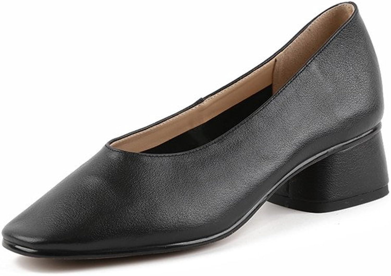 Nine Seven Genuine Leather Women's Square Toe Mid Chunky Heel Handmade Slip On Comfort Pumps