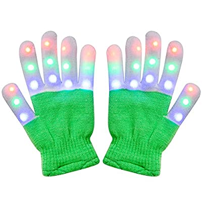 Amazer Kids Light Gloves Children Finger Light Flashing LED Warm Gloves with Lights for Birthday Light Party Christmas Xmas Dance Thanksgiving Day Gifts for More Fun- Green