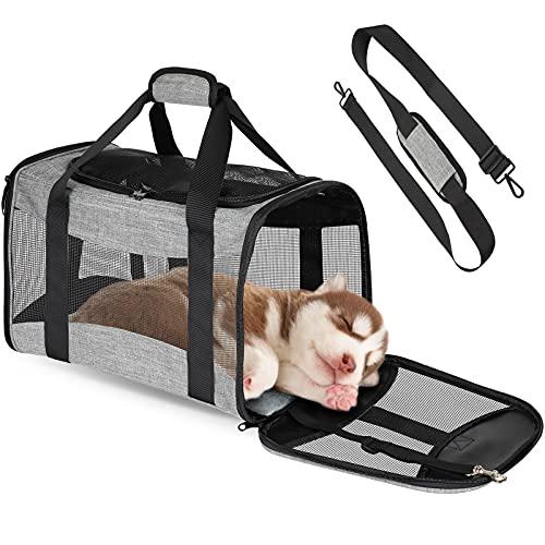 GeeRic Hundebox Transportbox,Faltbare Transportbox für Hunde & Katzen Reisebox Katzenbox 44 * 28 * 28 cm