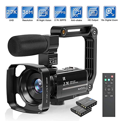 Camcorder Video Camera 2.7K Ultra HD YouTube Vlogging Camera 36M 30FPS 16X Digital Zoom Camcorder 3.0 Inch 270° Rotatable Screen with Microphone Handheld Stabilizer, Remote Control, Lens Hood