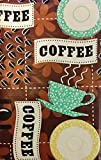 Coffee House Cups, Saucers and Beans Vinyl Flannel Back Tablecloth (60' Round)
