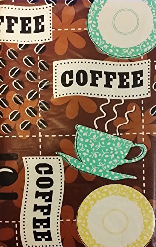 "Coffee House Cups, Saucers and Beans Vinyl Flannel Back Tablecloth (52"" x 90"" Oblong)"