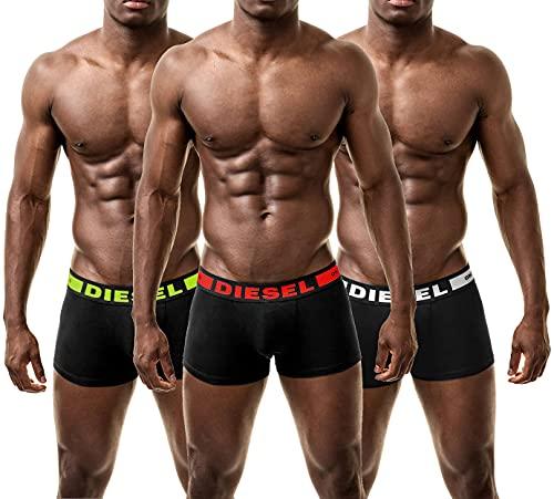 Diesel Herren 3 Pack Boxershorts Boxer Trunk Unterwäsche Panties Multipack Unterhosen (Small, Multi-Yellow)