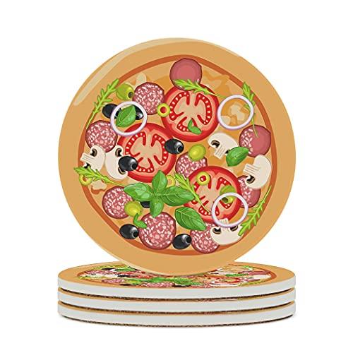 Wraill Posavasos redondos para comer, tomates, salchichas, pizzas, cerámica, juego de 4/6 unidades, posavasos absorbentes con base de corcho para vasos, tazas, color blanco, 6 unidades