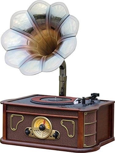 #07 GRAMMOFONO - Majestic TT 45 CD MP3 USB SD AX - Giradischi vintage tromba di grammofono, lettore CD/MP3, radio, ingressi USB/SD, registra vinili in mp3, Legno