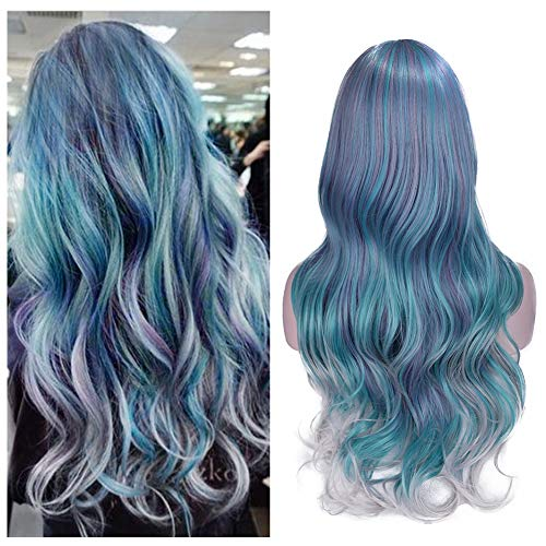 Lady Hanne Ombre Hair Wavy Wigs Mixed Violet Light Blue Light Green Gray Color Curly Wave Hair Middle Part Long Wavy Wig Heat Resistant Synthetic Daily Party Wig for Women