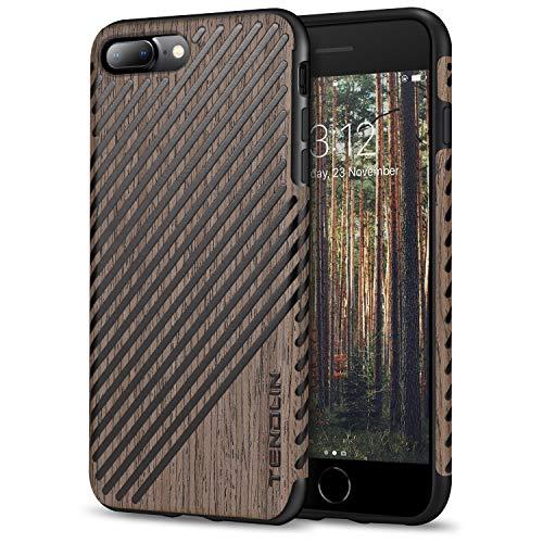 TENDLIN Funda iPhone 7 Plus/Funda iPhone 8 Plus Grano de Madera con Piel y Silicona TPU Híbrido Suave Funda Compatible con iPhone 7 Plus y iPhone 8 Plus (Rosa Negro & Cuero)