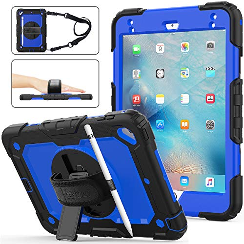 SEYMAC stock Funda para iPad Mini 5a/4a Generación, Funda de Protección contra Caídas Híbrida de con [Soporte Giratorio 360] Correa de Mano [Porta Lapices] para iPad Mini 5/ Mini 4 (Azul+Negro)