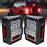 LED Rear Tail Lights Replacement for Jeep Wrangler 2007-2018 [Matrix Design] [DOT Approved] [Plug n Play] - Brake...