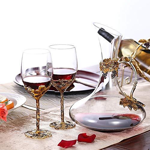 MRMRMNR 2 PCS Bicchieri Vino Rosso, Alta qualità Red Wine Bicchieri, Nobile Romantica Red Wine Glasses, Cristallo Bicchiere Processo di Colorazione dello Smalto Galvanico, con Decanter