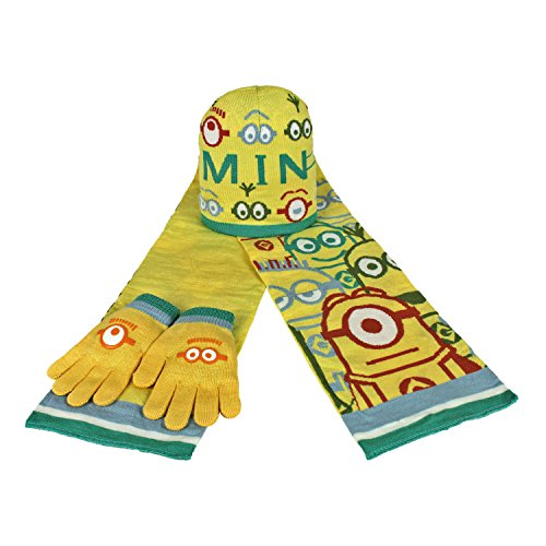 MINIONS 2200000353–Set 3-teilig mit Schal, Mütze und Handschuhe für Kinder, Marine, Einheitsgröße