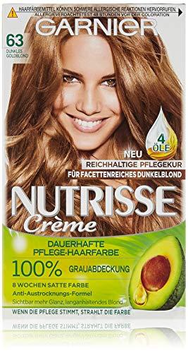 Garnier Nutrisse Creme Coloration Dunkles Goldblond 63 / Färbung für Haare für permanente Haarfarbe (mit 3 nährenden Ölen), 3 x 1 Stück