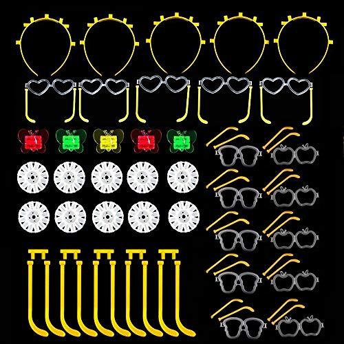 Simuer Knicklichter Verbindungen Glow Sticks Connectors,Kreisverbinder, 7-Loch-Verbinder, für Brillen, Dreifach Armbänder, ein Stirnband, Ohrringe, Blumen Verbindungen 40 Pack