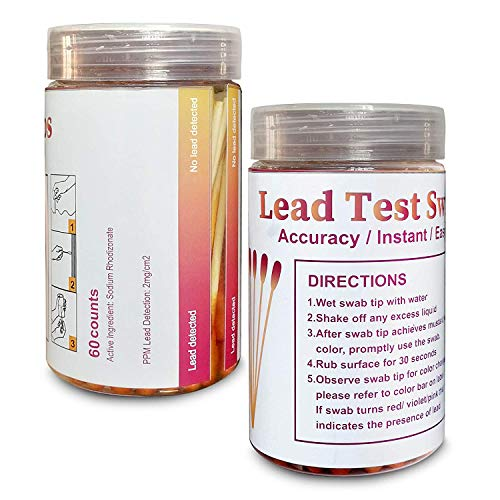 Lead Test swabs (60pcs) are Used to Quickly Test House Paint and Metal-Easy to use-Accurate to The Second Result-Non-Toxic Test 60pcs