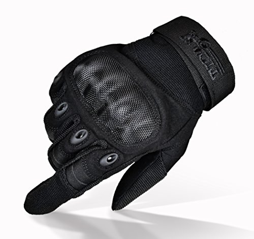 TitanOPS Premium Full Finger and Half Finger Hard Knuckle Motorcycle Military Tactical Combat Training Army Shooting Outdoor Gloves (Black, Medium)