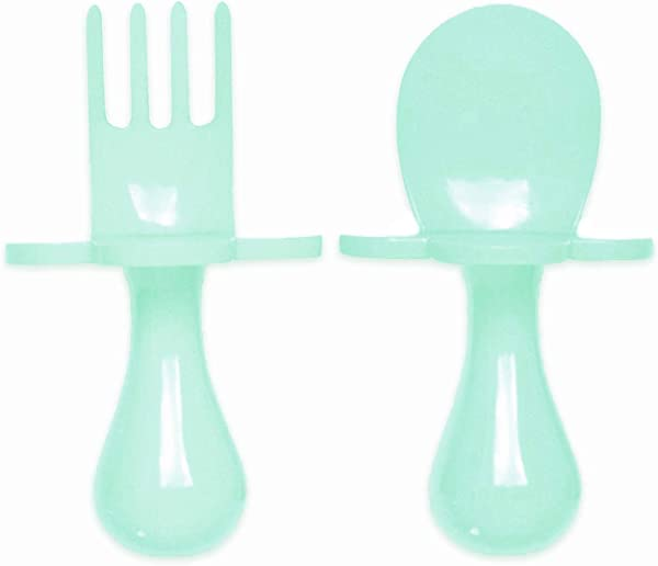 GRABEASE First Self Feed Baby Utensils With A Togo Pouch Anti Choke BPA Free Baby Spoon And Fork Toddler Utensils Toddler Silverware For Baby Led Weaning Ages 6 Months Mint
