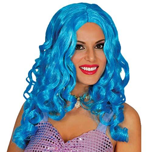Guirca Blaue Meerjungfrau Langhaar Perücke Karneval Motto Party Zubehör für Damen Locken