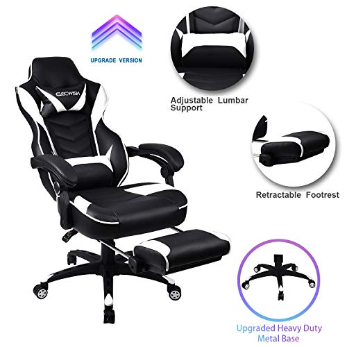 Video Gaming Chair Racing Office - PU Leather High Back Ergonomic Adjustable Swivel Executive Computer Desk Task Large Size with Footrest,Headrest and Lumbar Suppor (White) chair gaming white