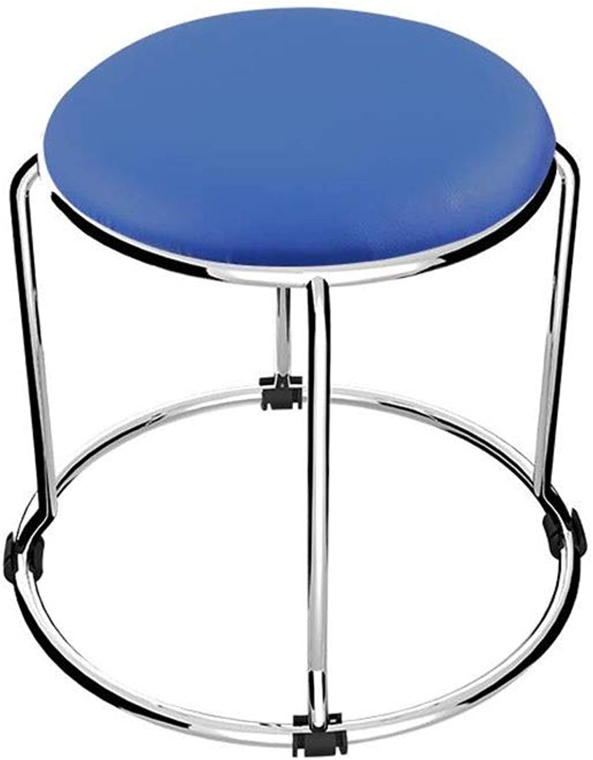 QIQI-LIFE Low Stool Stainless Steel Stackable Small Round Stool, Home Art Stool PU Soft Footstool (color   bluee)