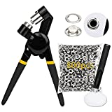 Allaind Grommet Tool Kit Handheld Hole Punch Pliers Portable Eyelets Setter with 800pcs 3/8 Inch (10mm) Silver Grommets & Hollow Hole Punch Tool for Banners Tarps Curtains