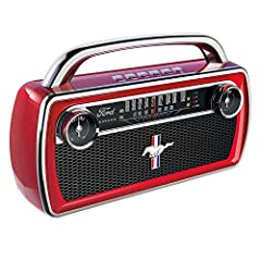 """Listen to your favorite tunes in style: Retro look ION Audio portable Bluetooth speaker with classic 65 Ford Mustang car radio styling Tune in: Sensitive AM/FM Radio tuner with vintage retro """"speedometer"""" look; Portable specification and presets lets..."""