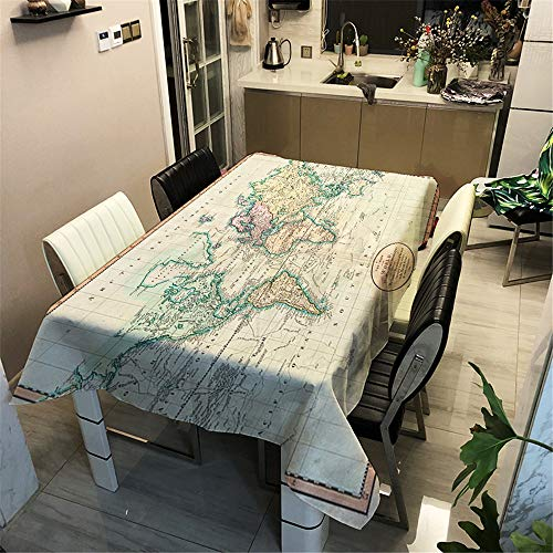 DUJUN wasserdichte Tischdecke aus Polyester, 3D-Tischdecke mit Digitaldruck, Weltkartenserie, geeignet für Restaurants, Wohnkultur, Urlaubspartys A8 140x180cm