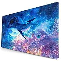 マウスパッド 大型 ゲーミング キーボードパッド 青 紫 クジラ 月 海 油絵 ゴム底 光学マウス ゲーム 特大 40cm×75cm 滑り止め エレコム 耐久性が良い おしゃれ かわいい 防水 サイバーカフェ オフィス最適 適度な表面摩擦