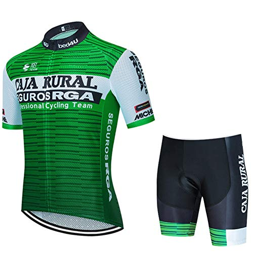 Caja Rural Camiseta de Ciclismo para Hombre de Manga Corta de Verano, Racing Club Pro Road Mountain Bicycle Outdoor Bike Jersey, Combo de compresión de Secado rápido MTB (Size : Medium)