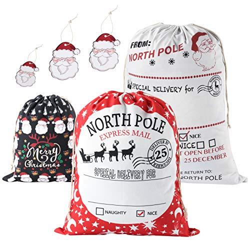 Celyoce 3 Stück 3 Größen Santa Sack, Große Weihnachtstaschen, Weihnachten Geschenkbeutel mit Kordeln zum Verpacken von Geschenken