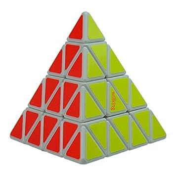 Willking Pyramid Speed Cube 4x4 Pyraminx Puzzle Triangle Twist Magic Cube White