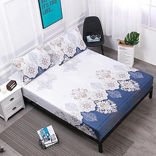 XGguo Protector de colchón de Rizo algodón y Transpirable Impresión de sábanas Impermeables Barrera de orina-4_80cmX200cm