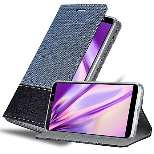 Cadorabo Hülle für HTC U12 Life in DUNKEL BLAU SCHWARZ - Handyhülle mit Magnetverschluss, Standfunktion und Kartenfach - Case Cover Schutzhülle Etui Tasche Book Klapp Style