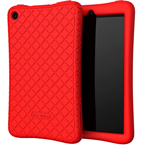 Bear Motion Silicone Case for All-New Fire 7 Tablet - Anti Slip Shockproof Light Weight Kids Friendly Protective Case for Fire 7 (ONLY for 9th Generation 2019 Model) - Red