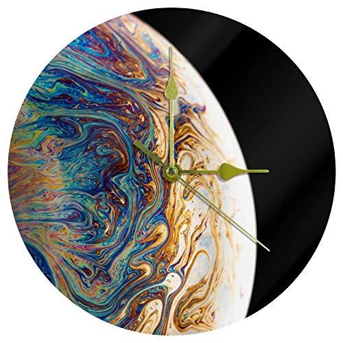 EZIOLY Acryl-Wanduhr, abstrakter Globus, 25,4 cm, leise, nicht tickende Quarz-Wanduhr, batteriebetrieben, ungeschaltet, runde Wanduhren, dekorativ für Zuhause, Büro, Schule