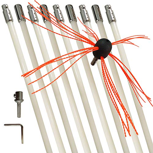 Chimney Cleaning Brush Fireplace Flue Sweep Whip Cleaner Tools 30 Feet Rotary System Flexible 9 Rods Kit Drill Powered