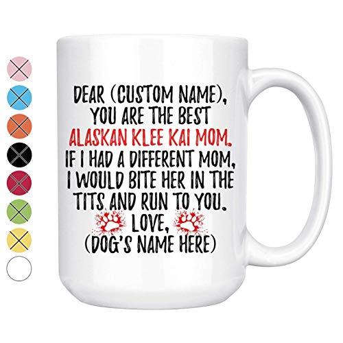 Regalos personalizados para mamá de Klee Kai de Alaska, taza de café...