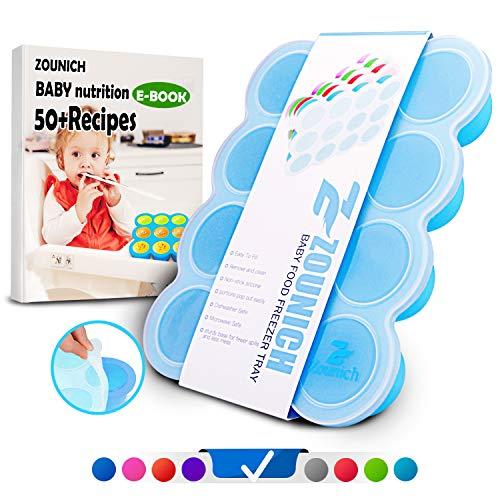 Silikon Babybrei Einfrieren mit Silikondeckel Brei Aufbewahrung Baby Brei Behälter Gefrierschrank Tray BPA Frei & FDA Zugelassen Wiederverwendbare - Gemüse, Obst Purees, Brust Milch und Eiswürfel