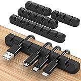 JIRVY 4 Stück Kabelhalter Kabelclips Selbstklebende Kabel Kabelmanagement für Netzkabel,USB Cable Ladekabel,Ladegeräte,Audiokabel, Cable Schreibtisch Kabelführung Schwarz (Black-7)