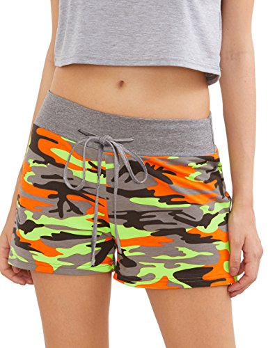 SweatyRocks Workout Yoga Shorts Pants Hot Shorts for Women Camouflage Grey Orange Medium