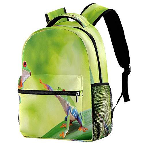 Mochila de la rana de ojos rojos mochila de la escuela bolsa de libro mochila casual para viajes, estampado 3, Talla única, Mochila de a diario